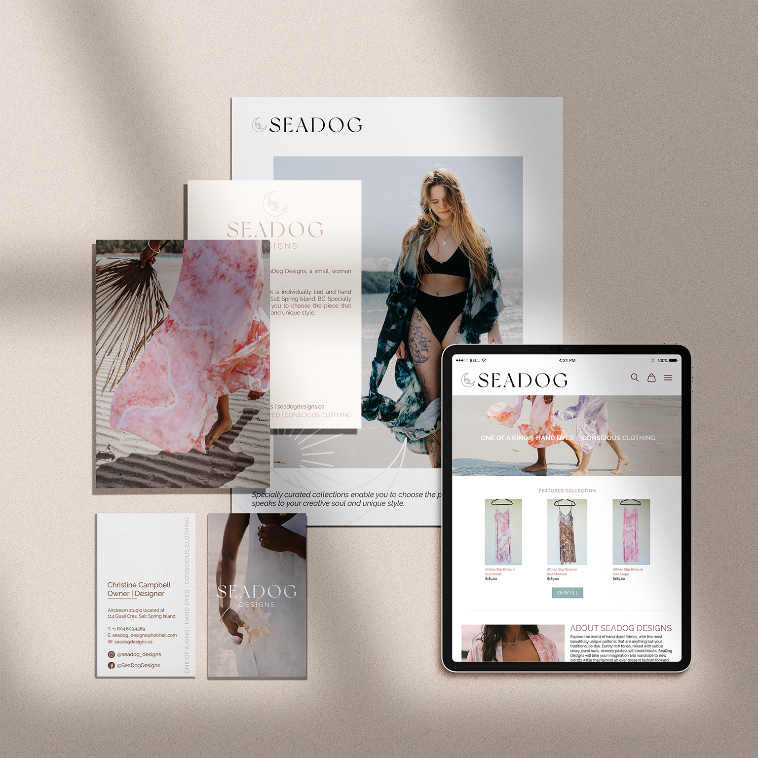 mockup of branding collateral for SeaDog Designs