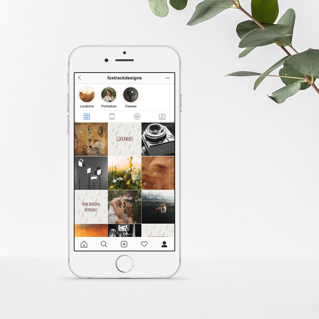 Mockup of iPhone of social media grid content creation for Fox Track Designs