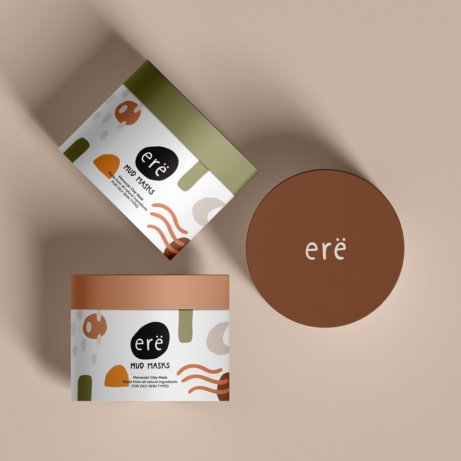 Mockup of cosmetic containers for Ere packaging design